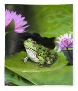 Frog And Water Lilies Fleece Blanket