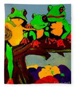 Frog Family Hanging Out On A Limb Fleece Blanket