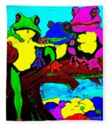 Frog Family Hanging Out On A Limb3 Fleece Blanket