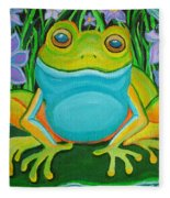 Frog On A Lily Pad Fleece Blanket