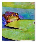 Frog - On A Water Lily Pad Fleece Blanket