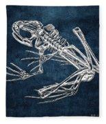 Frog Skeleton In Silver On Blue  Fleece Blanket