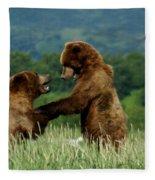 Frolicking Grizzly Bears Fleece Blanket