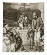 From Hand To Mouth, Engraved By J.m Fleece Blanket