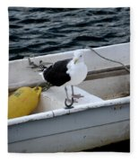 From Rockport Ma A Seagull Chilling Out In A Rowboat Fleece Blanket