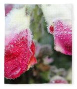 Frost Bears Down On Snapdragon Named Floral Showers Red And Yellow Bicolour Fleece Blanket