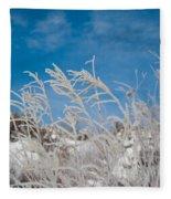 Frost Covered Grasses Against The Sky Fleece Blanket