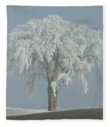Frost Covered Lone Tree Fleece Blanket