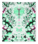 Frost On The Grass Fractal Fleece Blanket