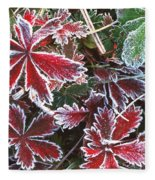 Frost On Wild Strawberry Fleece Blanket