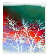 Frost Shrouded Tree Fleece Blanket