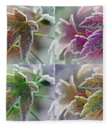 Frosted Maple Leaves In Warm Shades Fleece Blanket