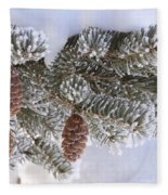 Frosted Pine Tree And Cones 1 Fleece Blanket