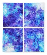 Frosted Window Abstract Collage Fleece Blanket