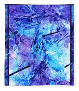 Frozen Castle Window Blue Abstract Fleece Blanket