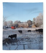 Frosty Barnyard Fleece Blanket