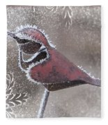 Frosty Cardinal Fleece Blanket