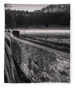 frosty fence in rural Indiana Fleece Blanket