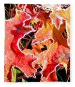 Frosty Oak Leaves Fleece Blanket