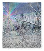 Frosty Window Distant Sun Fleece Blanket