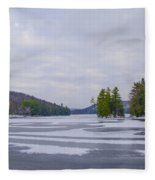 Frozen Bear Creek Lake Fleece Blanket