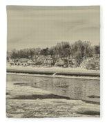 Frozen Boathouse Row In Sepia Fleece Blanket