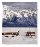 Lake Minnewanka, Alberta - Banff - Frozen Docks Fleece Blanket
