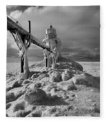 Frozen Grand Haven Lighthouse Black And White Fleece Blanket