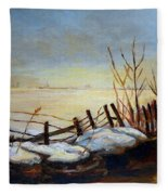 Frozen Lake Near Ste. Adele Fleece Blanket