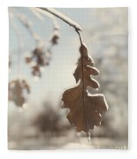 Frozen Oak Leaf Abstract Nature Detail Fleece Blanket