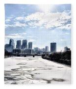 Frozen Philadelphia Cityscape Fleece Blanket