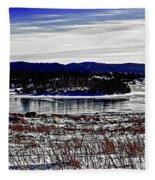 Frozen Pond Digital Painting Fleece Blanket