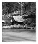 Frozen Pond In Black And White Fleece Blanket