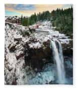 Frozen Snoqualmie Falls Fleece Blanket