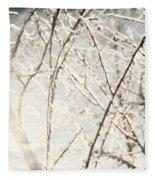 Frozen Tree Branches In Winter Fleece Blanket