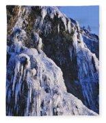 Frozen Waterfall On Oregon Central Coast Fleece Blanket