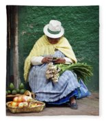 Fruit And Vegetable Vendor Cuenca Ecuador Fleece Blanket