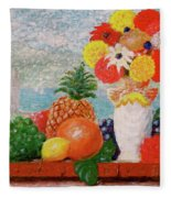 Fruit Flowers And Castle Fleece Blanket