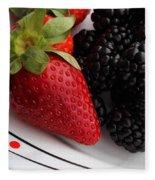Fruit II - Strawberries - Blackberries Fleece Blanket