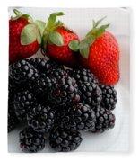 Fruit IIi - Strawberries - Blackberries Fleece Blanket