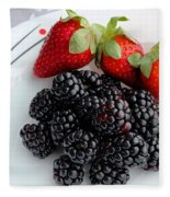 Fruit Iv - Strawberries - Blackberries Fleece Blanket