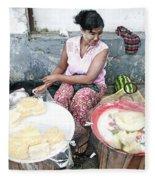 Fruit Vendor On Street Yangon Myanmar Fleece Blanket