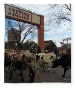 Ft Worth Trail Ride At Ft Worth Stockyard Fleece Blanket