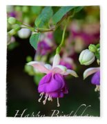 Fuchsia Birthday Card Fleece Blanket