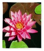 Fuchsia Pink Water Lilly Flower Floating In Pond Fleece Blanket
