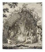 Fuegans In Their Hut, 18th Century Fleece Blanket