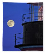 Full Moon And West Quoddy Head Lighthouse Beacon Fleece Blanket