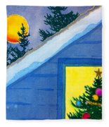 Full Moon At Christmas Fleece Blanket