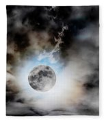 Full Moon  In Stormy Sky Fleece Blanket