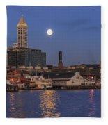 Full Moon Over Pioneer Square Fleece Blanket